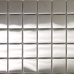 "Stainless Steel backsplash Polished Mesh-Mounted Metal Mosaic Tile 2"" x 2"" - 2"" x 2"" Stainless Steel Mesh-Mounted Metal Mosaic Tile is a great way to enhance your decor with a traditional aesthetic touch. This Polished Mosaic Tile is constructed from durable, impervious Metal material, comes in a smooth, unglazed finish and is suitable for installation on floors, walls and countertops in commercial and residential spaces such as bathrooms and kitchens."