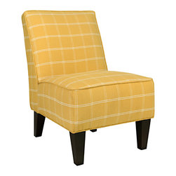 ANGELOHOME - angelo:HOME Dover Mimosa Yellow Square Armless Chair - The angelo:HOME Dover armless accent chair was designed by Angelo Surmelis. The Dover armless upholstered chair features a curved square broad back,no sag springs,deep seat cushion and thick foam cushion for extraordinary comfort.
