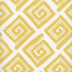 "Close to Custom Linens - Ruffled King Sham Maze Corn Yellow - Maze is a casual geometric pattern in corn yellow on a natural cotton slub background. The diamond shapes are 5.25"" wide. The face of each sham is lined with a layer of poly for extra body. Self-cording trim adds the finishing touch."