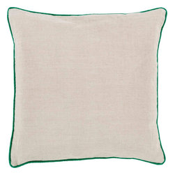 """Surya - Surya LP-002 Brilliantly Bordered Pillow, 18"""" x 18"""", Down Feather Filler - Add a splash of color to your space while still maintaining a clean, uncomplicated look with this perfect pillow. Featuring a delicate beige canvas outlined with a vibrant green, this piece will give your room a modern and mature feel. This pillow contains a zipper closure and provides a reliable and affordable solution to updating your home's decor. Genuinely faultless in aspects of construction and style, this piece embodies impeccable artistry while maintaining principles of affordability and durable design, making it the ideal accent for your decor."""