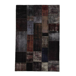 """Pre-owned Black, Brown & Grey Turkish Patchwork Carpet - Traditional Turkish patterns from an assortment of vintage pieces mix to make this hand made, naturally distressed vintage rug in deep neutral overdyed tones. Full cotton backing and decorative blanket stitch edging.    Remnants of vintage wool on a cotton warp, made entirely by hand in the '60's through '80's when Turkish women still included weaving in their daily homemaking chores. Employing the sturdy double knot technique unique to Turkish rugs, multicolor floral and medallion motifs were created a row at a time using bright hand dyed wools. Considered too old fashioned for modern Turkish homes in their traditional incarnations, these rugs have languished in back rooms of the bazaars‰Ű_until now, as these fragments in excellent condition are overdyed and combined to create modern patchwork statements for the floor.    Note from the seller: """"Our revitalization process keeps rugs that may otherwise get tossed out of landfill. Repurposed discards are helping artisans connect and create, supporting the community we're building here in Istanbul to revive vanishing traditional fiber crafts.‰Űť    Please note that all sales are final - These amazing rugs are coming direct from Istanbul, Turkey and returns will not be allowed."""