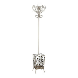 Adarn Inc. - Gorgeous Antiqued Silver Coat Hat Rack Scrolled Metal Umbrella Holder Hanger - This coat rack takes on a fairytale quality with its scrolled metal accents. The antiqued silver color finish with gold tone accents complements the floral motif of the base that is complete with butterflies and roses. A place to hang coats, scarves, purses, and store umbrellas, this coat rack will add instant charm to your home.