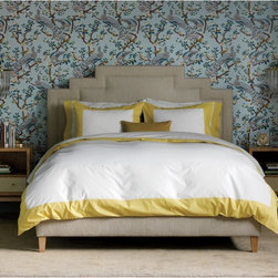 Modern Border Citrine Duvet Set - I'm not sure how long this would last in my bedroom with my so-cute-I-can't-not-let-him-on-the-bed puppy, but it's a nice idea in theory. I love the cheery yellow trim. Plus, a simple duvet means I can go wild with printed sheets and switch them out often.