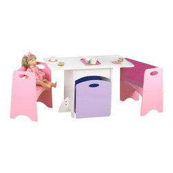KidKraft - Table With Pastel Benches by Kidkraft - With bright colors and space-saving convenience, our new Table with Pastel Benches is the perfect place for arts, crafts, and board games. Perfect for small apartments or space-challenged homes, the benches and storage bin fit neatly beneath the table when not in use.