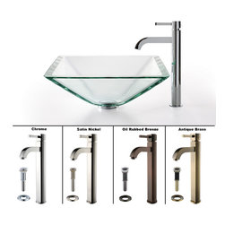 Kraus - Kraus Clear Aquamarine Glass Vessel Sink and Ramus Faucet Satin Nickel - *Add a touch of elegance to your bathroom with a glass sink combo from Kraus