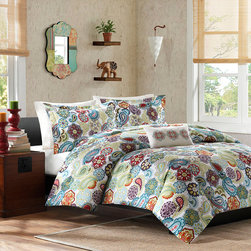 Mi-Zone - Mizone Asha 4-piece Printed Paisley Polyester Microfiber Comforter Set - Give your space a touch of garden charm with this stylish four-piece floral comforter set. This machine-washable set has everything that you need to create a beautiful bed for a colorful bedroom makeover that exudes a romantic ambiance.