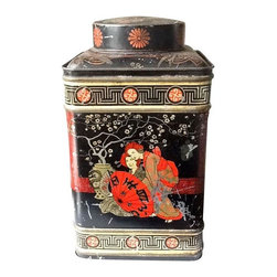 Used Large Vintage Asian Metal Tin - This vintage black and graphic tin is a great display object. Truly stunning, covered with black, gold and red imagery. It makes quite a statement sitting on a shelf or table top. This tin is old and has been used. Old patina and surface wear abounds as the photos represent. There is no makers mark. Top lid is removable and tight.
