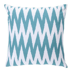 18-Inch Square Turquoise and White Striped Cotton Pillow Cover with Poly Insert