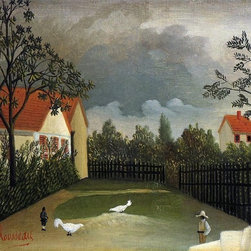 "Henri Rousseau The Poultry Yard - 16"" x 24"" Premium Archival Print - 16"" x 24"" Henri Rousseau The Poultry Yard premium archival print reproduced to meet museum quality standards. Our museum quality archival prints are produced using high-precision print technology for a more accurate reproduction printed on high quality, heavyweight matte presentation paper with fade-resistant, archival inks. Our progressive business model allows us to offer works of art to you at the best wholesale pricing, significantly less than art gallery prices, affordable to all. This line of artwork is produced with extra white border space (if you choose to have it framed, for your framer to work with to frame properly or utilize a larger mat and/or frame).  We present a comprehensive collection of exceptional art reproductions byHenri Rousseau."
