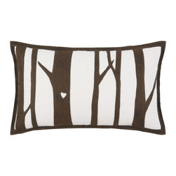 "Eastern Accents - Tree Hugger Tree Love Pillow - Part of the Tree Hugger collection, the Tree Love felt pillow celebrates Mother Earth with its silhouetted forest applique��_d on a white background. This nature-inspired accent makes a statement on a sofa, chair or bed. Handcrafted for the modern home, this decorative pillow charms with its unique fabrication, retro design and earthy color palette. 22""W x 13""H; Hand-cut felt piecing; High quality polyester fiber pillow insert included; Zipper closure"