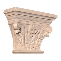 "Inviting Home - Boston Capital - hard maple wood (CP75/cp75-6) - Capital in hard maple wood; 8-1/8""W x 2-7/8""D x 6""H Wood capitals are hand carved in deep relief design from premium selected North American hardwoods such as alder beech cherry hard maple red oak and white oak. They are triple sanded and ready to accept stain or paint. Hardwood capitals are a great way to enhance any pilaster or column."