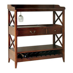 Wayborn - Eiffel Wine Storage Console - Wine storage console has room for your favorite wines and stemware. Two center drawers provide added space for bottle openers and other utensils. Ideal for any dining room or home bar. 2 Drawers. Glass holder. Wine rack holds up to 9 bottles. Made from Birchwood. Smooth finish. 38 in. W x 14.5 in. D x 40.5 in. H (69 lbs.)