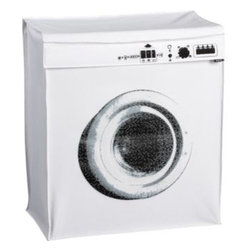 """Washing Machine Hamper - Have some good clean fun with this faux front loader. This white polyester hamper features a screenprinted drum and controls and has handles for easy transport. Your dirty laundry never looked so stylish! Dimensions: 21"""" wide  x11"""" deep x 24"""" highFolds for storage."""