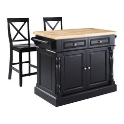 Crosley Furniture - Butcher Block Top Kitchen Island with Black X - Includes two stools. Fully functional doors and drawers on both sides. Butcher block top. Two towel bars. Brushed nickel hardware. Carved column accents. Two adjustable shelves behind doors. Warranty: 90 days. Made from solid hardwood and wood veneers. Black finish. Made in Vietnam. X-back stool height: 24 in.. Overall: 48.25 in. W x 23 in. D x 36 in. H (168 lbs.). Assembly instructions - Kitchen Island. Assembly instructions - StoolThis kitchen island is designed for longevity. The handsome raised panel doors and drawer fronts provide the ultimate in style to dress up any culinary space. Great for food preparation, the butcher block top is a plus in any kitchen. Deep push-through drawers are great for holding essential items, such as utensils or storage containers. Style, function, and quality make this kitchen island a wise addition to your home.