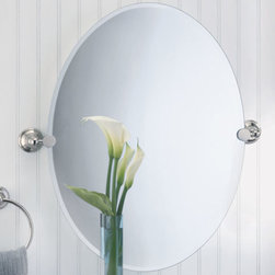 Laurel Avenue Oval Tilting Mirror - This oval mirror is mounted with elegant Laurel Avenue brackets in a Polished Nickel finish. Add beauty and style to your powder room with complementing hardware.