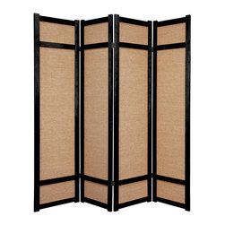 Oriental Furniture - 6 ft. Tall Jute Shoji Screen - 4 Panel - Black - This is a unique variation of a Japanese shoji screen made from woven jute panels, and is a great choice where the white paper of a traditional shoji screen would not fit with the decor. Each panel frame is crafted from durable, lightweight spruce using East Asian style mortise and tenon joinery.