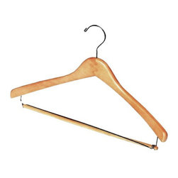 "17"" Wood Concave Garment hanger with wood and wire bar and shiny chrome hooks - Box of 100 hangers."