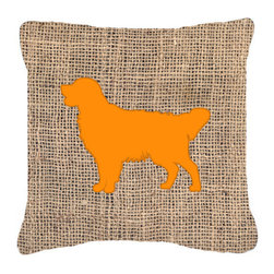 Caroline's Treasures - Golden Retriever Burlap and Orange Fabric Decorative Pillow Bb1085 - Indoor or Outdoor Pillow made of a heavyweight Canvas. Has the feel of Sunbrella Fabric. 14 inch x 14 inch 100% Polyester Fabric pillow Sham with pillow form. This pillow is made from our new canvas type fabric can be used Indoor or outdoor. Fade resistant, stain resistant and Machine washable.