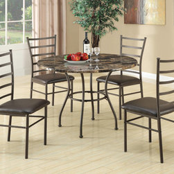 "Coaster - 5 Pc Dining Set in Brown - Simple, elegant style, this 5PC dining set is the perfect addition for your dining room or eat-in kitchen. The set features a round faux marble table top and sturdy metal base finished in brown. Matching cushions are wrapped in a durable brown leather-like vinyl.; Transitional Style; Finish: Brown; Fabric Color: Brown; Some assembly required.; Dimensions: Table: 42""L x 42""W x 30.5""H; Chair: 19""L x 17""W x 38.25""H"