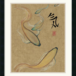 Amanti Art - Energy I (Gold) Framed Print by Barbara Psimas - Add a Global flair to your decor! With a gracefully swimming koi and elegantly penned Japanese calligraphy, this Asian artwork conspires to bring unmatched beauty to any wall.