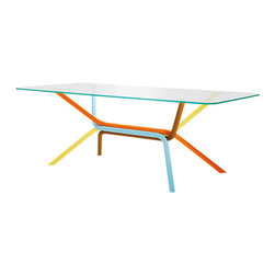 Knoll - Lovegrove Rectangular Table - Design is play; why hide it? This dining table puts some childlike fun back into your decorating, with its whimsical-rainbow base. The glass top keeps the whole design light and airy.