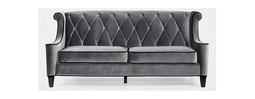 Armen Living - Barrister Art Deco 2 Cushion Tufted Sofa in G - Tufted back seating. Elegantly curved wings. Unique high bolsters. Black piping. Backrest defined by deep diamond buttoning. Plush feel with authentic and fashionable flair. Velvet upholstery. 83 in. L x 35 in. W x 38 in. H (110 lbs.)Unmistakably posh velvet enhances the distinguished silhouette of this updated classic.