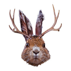 Walls Need Love - Jackalope, Adhesive Wall Decal - You can't help by smile when you look into the wide eyes of the jackalope. This delightful wall decal captures the stunned mythical critter — part jackrabbit, part antelope, all adorable.