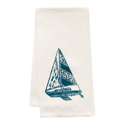 "artgoodies - Organic Sailboat Tea Towel - This high quality 100% certified organic cotton tea towel was custom made just for artgoodies! Hand printed with one of my original linocut block print images it measures 20""x28"" and comes wrapped in a green ribbon made from 100% recycled plastic bottles! Nice and absorbent for drying dishes, looks great when company is over, and makes a great housewarming gift!"