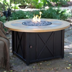 UniFlame Round LP Gas Outdoor Firebowl with Slate and Faux Wood Mantel