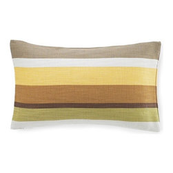 Jiti Pillows - Hosta Stripes Cotton Pillow in Celedon - Features: -Color: Celedon. -Material: 100% Cotton. -95% Feather 5% down insert. -Indoor use. -Come with zipper. -Dry clean only.