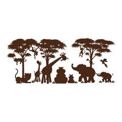 Elephants on the Wall - Small Silhouette Safari Wall Mural - Small Silhouette Safari Wall Mural