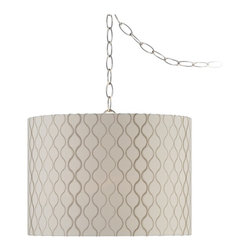 "Lamps Plus - Contemporary Embroidered Hourglass Swag Style Plug-In Chandelier - Add stylish and unique ceiling lighting easily with this plug-in chandelier. The design features modern wave pattern embroidered on an ivory fabric shade. Plug into any standard wall outlet then drape the cord as desired on the included swag hooks. Chrome finish. Ivory fabric shade. Plug-in style. Takes one 150 watt E26 bulb (not included). Includes 14 foot chain and 17 foot wire. 10"" high. 14"" wide.  Chrome finish.   Ivory fabric shade.   Plug-in style.   Takes one 150 watt E26 bulb (not included).   Includes 15 foot chain and 18 foot wire.   10"" high.   14"" wide."