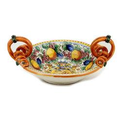 Artistica - Hand Made in Italy - Majolica Delfino: Scrolled Handles Round Bowl. - Majolica Delfino: