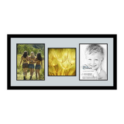 ArtToFrames - ArtToFrames Collage Photo Frame  with 1 - 10x10 and 2 - 10x13 Openings - This sleek Satin Black, 1.25 inch wide collage frame, comes equipped with a multiple opening display for 1 - 10x10 and 2 - 10x13 snapshots of your choice. This collage is part of a variety collage frame group and boasts an ample line of premium quality frames at a affordable price tag you can feel good about! Homespun and created to showcase your snapshots ensuring you 1 - 10x10 and 2 - 10x13 art will fit exactly so. Bordered in a bold Satin Black, sophisticated frame and joined by a sophisticated Baby Blue mat, the collage arrangement truly highlights your original prized artwork, and the greatest memories in an entirely special and fun way. This collage frame comes protected in Styrene, handy with proper hardware and can be displayed within a few seconds. These superior quality and naturally wood-based collage frames change in tone and size specifics; all in contemporary and modern design. Mats are available in a multitude of color tones, spaces, and shapes. It's time to tell your story! Preserving your sharing your memories in an original and artistic fresh way has never been easier.