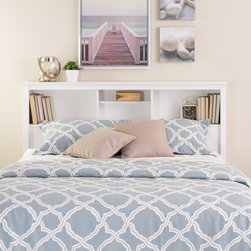 None - Winslow White Full/Queen Bookcase Headboard - Add a finishing touch to your bedroom and storage space too with this full/queen bookcase headboard. Designed to suit any decor,this headboard adds three compartments' worth of storage to your bedroom.