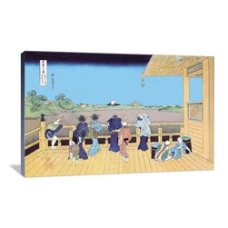"""Artsy Canvas - View Of Mount Fuji From The Porch 36"""" X 24"""" Gallery Wrapped Canvas Wall Art - View of Mount Fuji from the Porch - Katsushika Hokusai (1760 beautifully represented on 36"""" x 24"""" high-quality, gallery wrapped canvas wall art"""