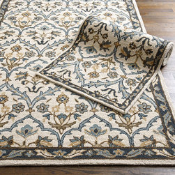 Ballard Designs - Brittany Hand Hooked Rug - Swatches available. Sizes are approximate. Imported. With its flowing florals of wheat, gray blue, chocolate and indigo, our Brittany Rug recalls the timeless colors of Provence. Hand hooked in soft loops of 100% wool on a natural ground. Use of a Rug Pad, is recommended. Brittany Rug features: . . .