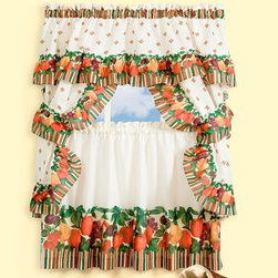 Achim - Achim Tuttie Fruitie Cottage Curtain Set - TUCS24ML06 - Shop for Curtains and Drapes from Hayneedle.com! One can easily imagine the sweet smell of citrus with a view like the Achim Tuttie Fruitie Cottage Curtain Set in their kitchen. This five-piece window treatment set features a fun design comprising light beige decorated in colorful stripes and a variety of your favorite fruits nestled about the trim. Includes tailored topper with attached valance a pair of tailored tiers and two dark grape-colored tiebacks that complete the traditional look of your new window drapery. Established in 1962 by its founder and current president Achim's home furnishing lines include many ready-made products specializing in decorative styles for the window and floor. Priding themselves on offering outstanding value Achim Importing puts the highest quality standards on all of their products. With a wide range of clients including major mass merchants home centers catalogs internet building suppliers and more Achim stocks most of their products in their 500 000-square-foot North Brunswick New Jersey warehouse so they can ship everything promptly.