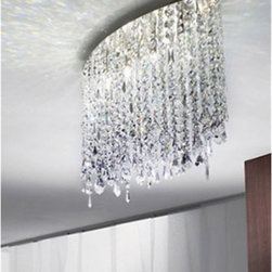 """Axo - Axo Marylin 66 ceiling light - The Marylin 66 ceiling light is designed by Manuel Vivian. This stunning light consists of light reflecting lead crystal strands (available in crystal or black colours) suspended from a canopy in satin nickel finish. Get an exclusive touch into your home. The Marylin collection features various lamp options: suspension lamps, pendant lights, wall sconces as well as floor lamps.  Product description: The Marylin 66 ceiling light is designed by Manuel Vivian. This stunning light consists of light reflecting lead crystal strands (available in crystal or black colours) suspended from a canopy in satin nickel finish. Get an exclusive touch into your home. The Marylin collection features various lamp options: suspension lamps, pendant lights, wall sconces as well as floor lamps.  Details:                          Manufacturer:             Axo Light                            Designer:             Manuel Vivian                            Made in:            Italy                            Dimensions:                         diffuser: 26"""" x 7.1"""" (66 x 18 cm) x height: 20"""" (50 cm); width of canopy: 16"""" (40 cm)                                         Light bulb:                         4 x 60W max. G9 halogen light bulb (not included)                                          Material:             lead crystal, metal             Designer Manuel Vivian:  Born in Venice in 1971, his interest in design started when he was very young, in particular with reference to blown glass, also thanks to his family business. After succeeding in making the first projects in glass, Manuel enlarged his range of interests to the various fields of Interior Design. Since AXO Light was born in 1997, he has been cooperating constantly with the company and became its main designer."""