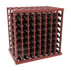 Double Deep Tasting Table Wine Rack Kit in Pine with Cherry Stain + Satin Finish - The quintessential wine cellar island; this wooden wine rack is a perfect way to create discrete wine storage in open floor space. With an emphasis on customization, install LEDs or add a culinary grade Butcher's Block top to create intimate wine tasting settings. We build this rack to our industry leading standards and your satisfaction is guaranteed.