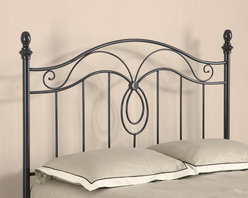 Coaster - Casual Queen Size Headboard in Dark Grey - Elegantly designed this queen iron headboard features rounded finials and decorative center design in a black finish.