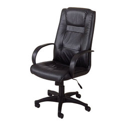 """Coaster - Office Chair (Black) By Coaster - This beautiful executive chair will add both style and comfort to your home office. The plush high chair back and seat are covered in rich black leather for a luxurious look, with smooth arms at each side for comfort. An adjustable height gas lift allows you to customize the fit, with casters below the black base for easy mobility. Create a warm and stylish home office with this gorgeous casual contemporary executive office chair. Office Chair:25""""w x 19.5""""D x 44.75""""-49.75""""HThe Office Chairs Casual Contemporary Leather Executive Chair by Coaster is available in the area from Coaster."""