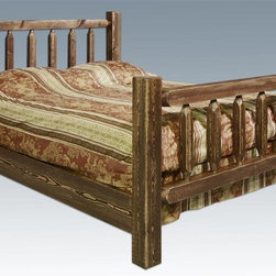 Montana Woodworks - Bed in Stained and Lacquered Finish (Twin) - Choose Bed Size: TwinHandcrafted with heirloom quality. Sawn squared timber and trim pieces. Durable and fit with rustic features. Personally signed by artisans. Mortise and Tenon joinery style. A+ rating fron BBB. Made from solid US grown wood. Made in USA. Minimal assembly required. Twin: 87 in. L x 46 in. W x 47 in. H (117 lbs.). Full: 87 in. L x 60 in. W x 47 in. H (130 lbs.). Queen: 94 in. L x 66 in. W x 47 in. H (165 lbs.). King: 94 in. L x 80 in. W x 47 in. H (190 lbs.). California king: 98 in. L x 76 in. W x 47 in. H (190 lbs.). Use and Care Instructions. WarrantyHomestead Collection of fine rustic furniture features timbers and trim pieces similar reminiscent of a timber framed home on the American frontier..From Montana Woodworks, the largest manufacturer of handcrafted quality log furnishings in America comes the all new Homestead Collection line of furniture products. The artisans rough saw all the timbers and accessory trim pieces for a look uniquely reminiscent of the timber-framed homes once found on the American frontier. All Homestead Collection beds feature the tried and true mortise and tenon joinery system utilized for millennia by true craftsmen the world over.