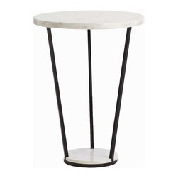 "Arteriors - Arteriors Home - Petra Side Table - 6581 - This white marble and black iron side table has a graphic quality with the larger top and narrow bottom. Features: Petra Collection Side Table White Marble Black Some Assembly Required. Dimensions: H 28"" x 21"" Dia"