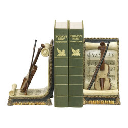 Sterling Industries - Sterling Industries Pair Violin And Music Bookends X-3161-19 - Perfect for the music lover or the musician's library, this Sterling Industries bookends pair features a stringed instrument leaned up a lengthy scroll of music. The scrolls are framed by twisted rope trim in gold, with a classic black backdrop. Wood tones and intricate detailing add a realistic touch.