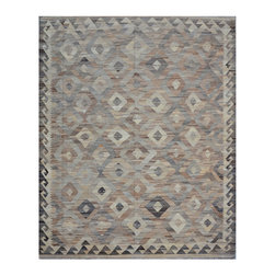 "ALRUG - Handmade Beige Oriental Kilim  8' 3"" x 10' 2"" (ft) - This Afghan Kilim design rug is hand-knotted with Wool on Wool."