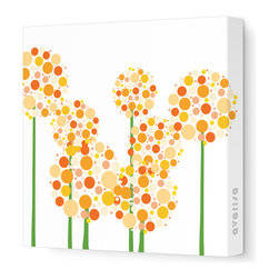 "Avalisa - Imagination - Allium Stretched Wall Art, Orange, 28"" x 28"" - Art is the best way to add personality to your home. These clusters of multi-hued flowers would bring a pop art vibe to a blank wall and liven up your space. The stretched canvas means it's ready to hang and you don't even have to worry about framing. Ready, set, decorate!"