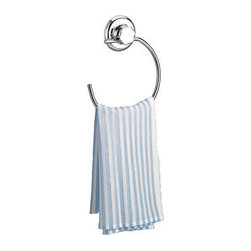 None - EZ Hold Suction System Rounded London Chrome-finish Towel Ring - Dress up your bathroom - and keep those hand towels off the counter - with this smooth, polished chrome towel ring. No screws or nails needed; use the turn-and-hold suction system to position. If you change your mind, release and reposition.