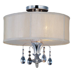 Maxim Lighting - Maxim Lighting 24301CLBSPN Montgomery Traditional Semi Flush Mount Ceiling Light - Tradition with a twist, the Montgomery collection's Polished Nickel finish gleams with its curves and delicate arcs. Clear Glass and carefully cut crystals add sparkle. The pendant and semi-flush fixtures include a Blush fabric shade that diffuses the light and warms the glow.