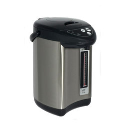 Sunpentown - Hot Water Dispenser with Dual-Pump System, 3.75 Qt. - Always have hot water ready at your fingertips with the new Dual-Pump Hot Water Pot. Features one-touch auto dispense and manual air pump. The air pump allows water to be dispensed even when power is cut off. Ideal for tea lovers or anyone who needs hot-water handy. User friendly, simply add drinking water and unit automatically start to heat water to boiling point. Maintains temperature at boiling point. Stainless steel body with black trimmings for a sophisticated look.